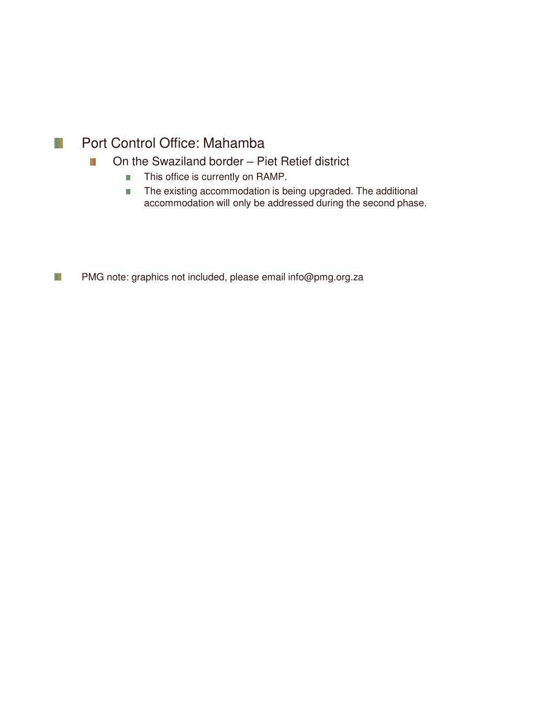 Port Control Office: Mahamba