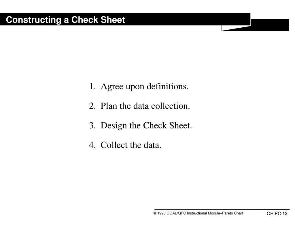 Constructing a Check Sheet