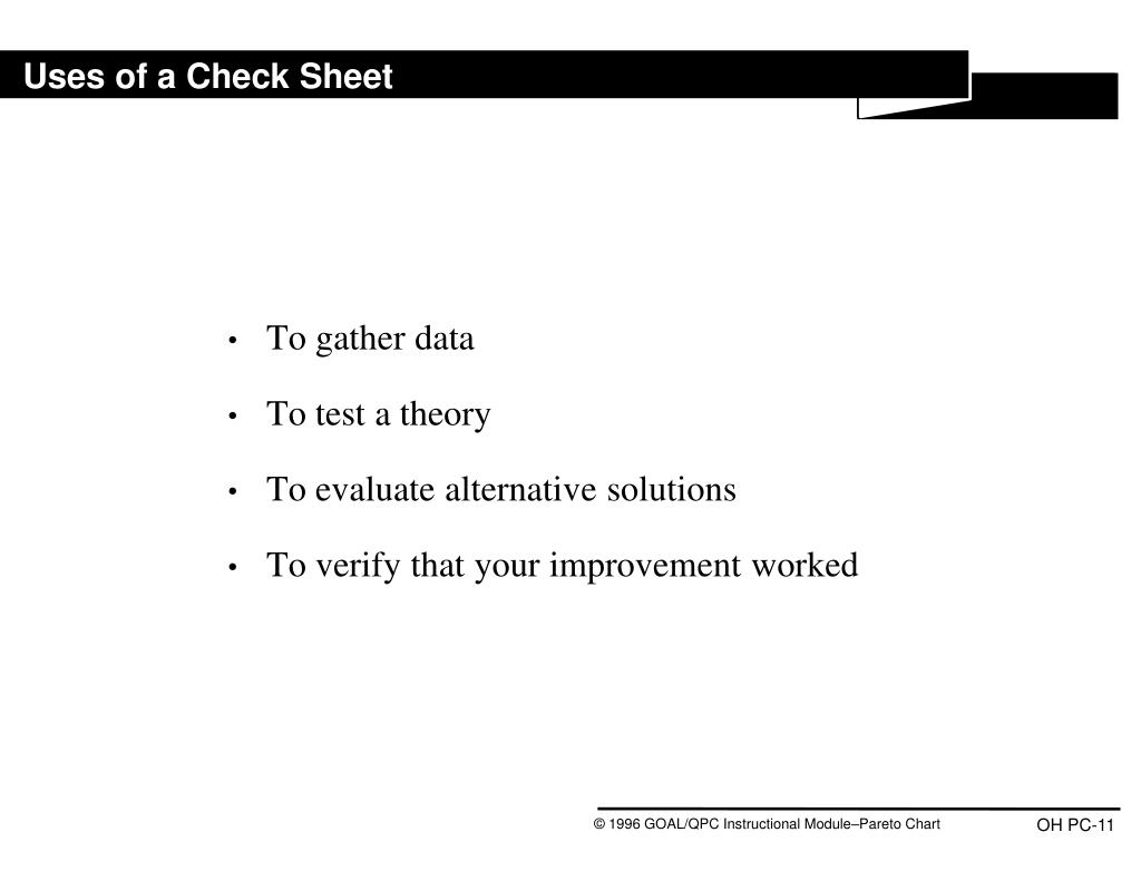 Uses of a Check Sheet