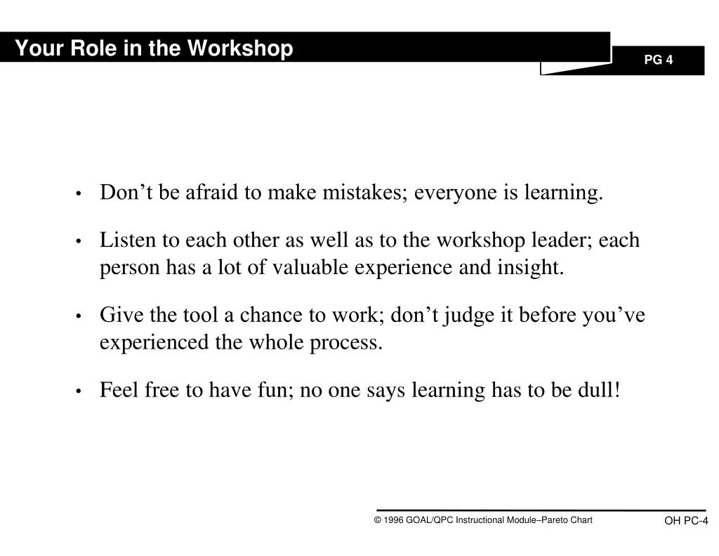 Your Role in the Workshop