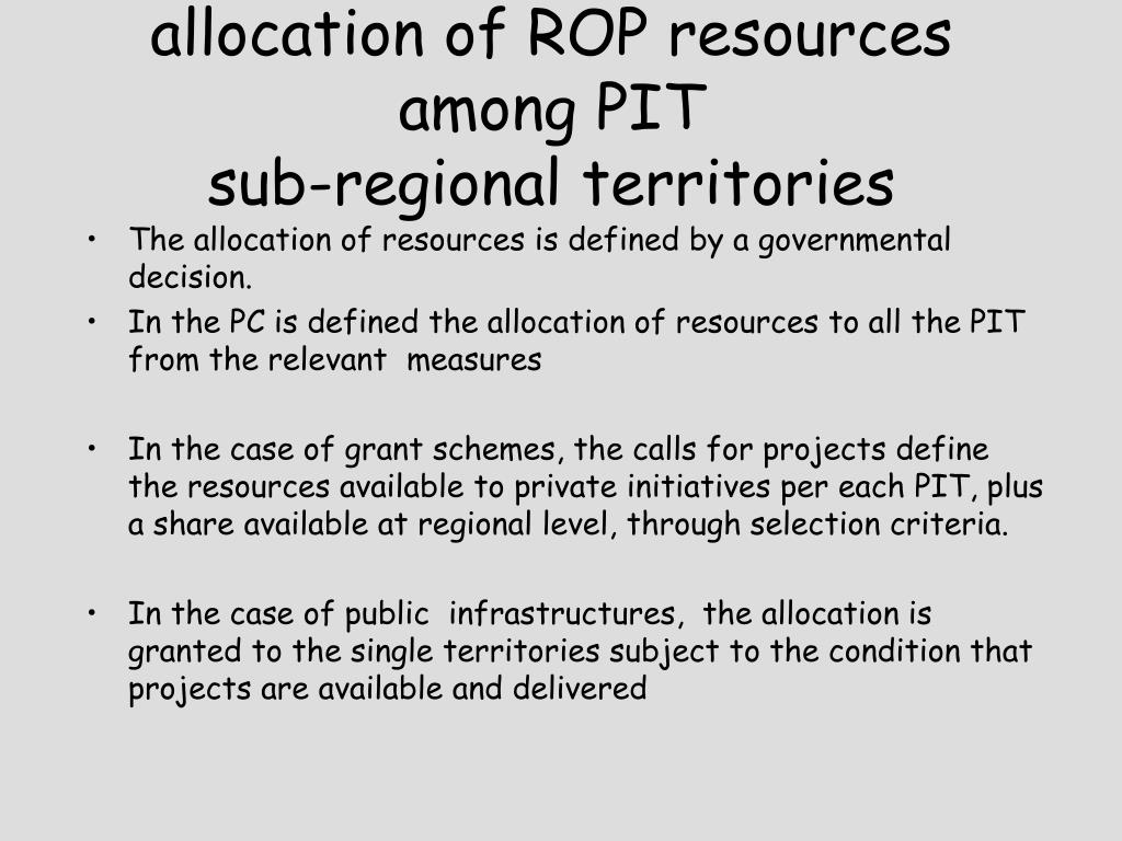 allocation of ROP resources among PIT