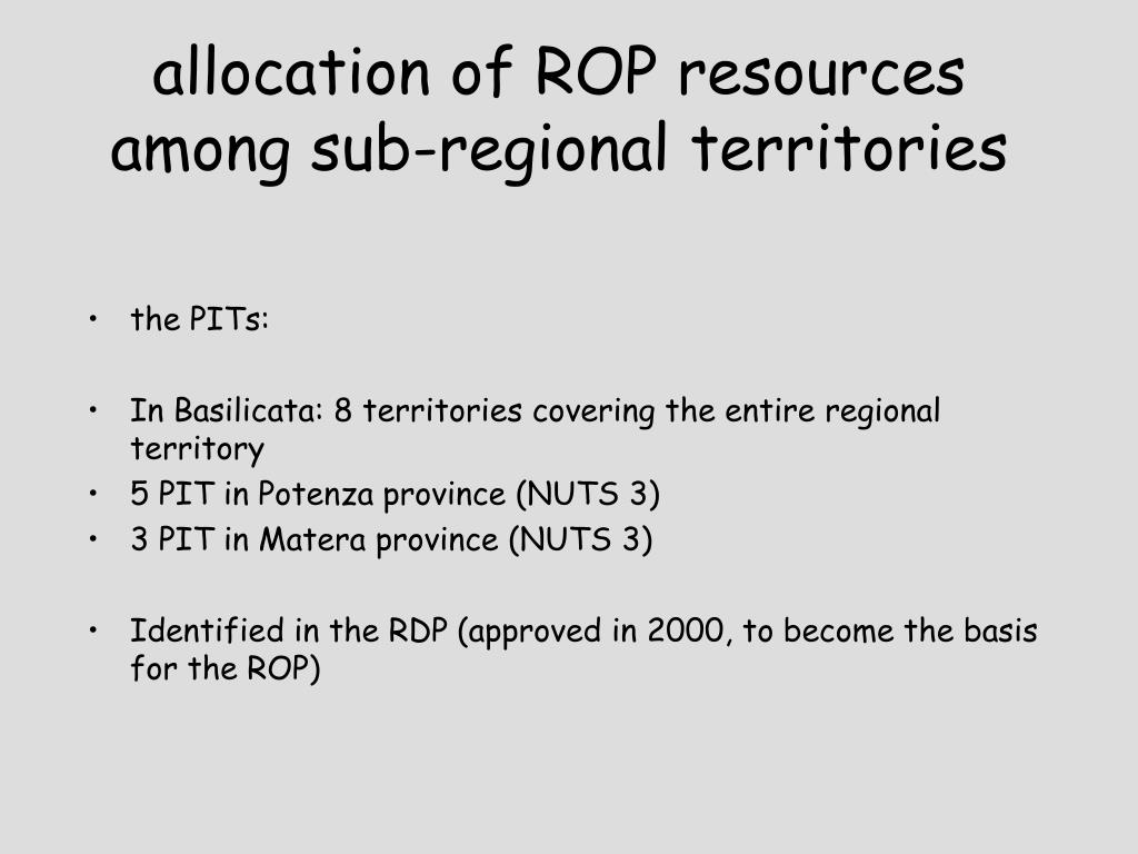 allocation of ROP resources among sub-regional territories