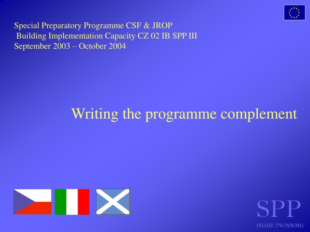 Special Preparatory Programme CSF & JROP