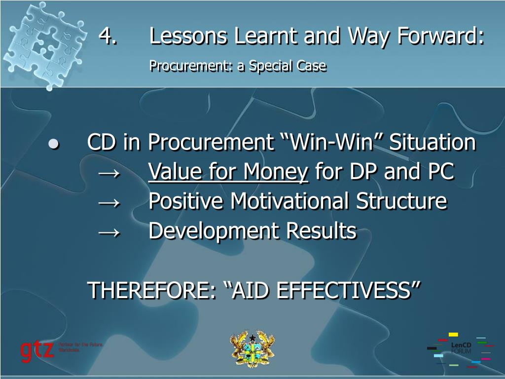4.Lessons Learnt and Way Forward: