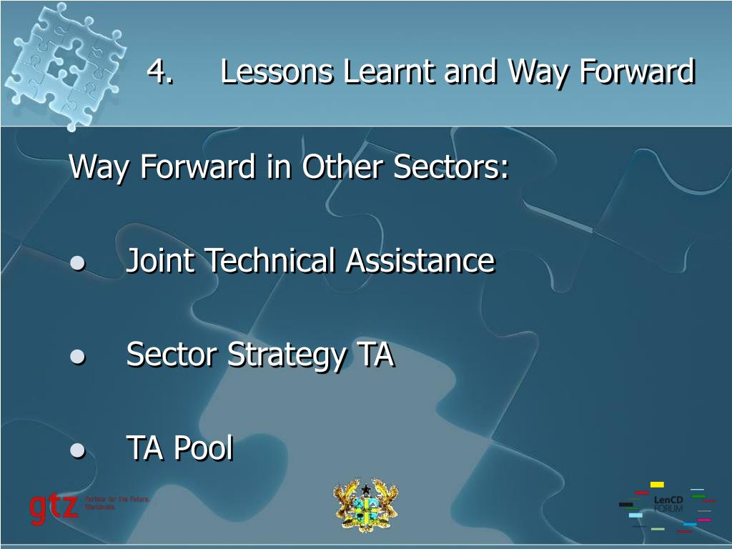4.Lessons Learnt and Way Forward