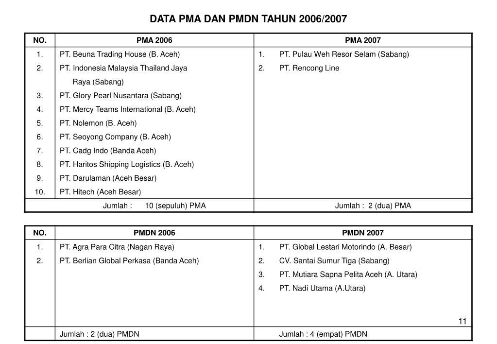 DATA PMA DAN PMDN TAHUN 2006/2007