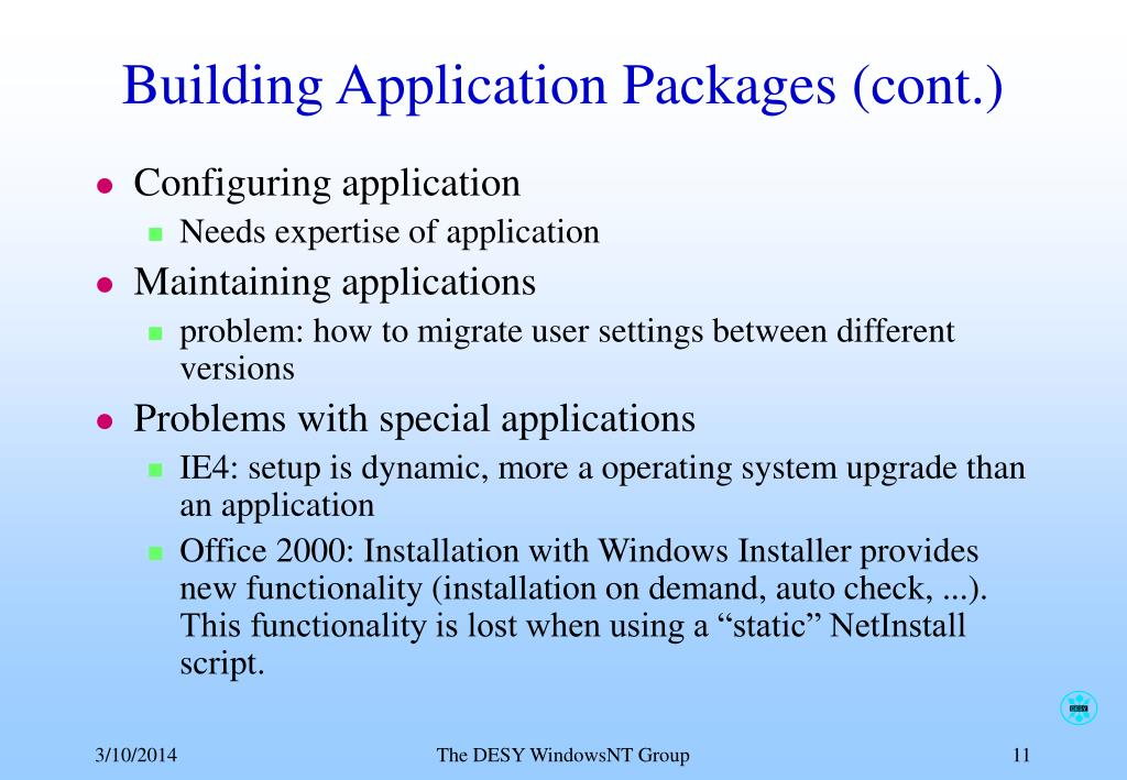 Building Application Packages (cont.)