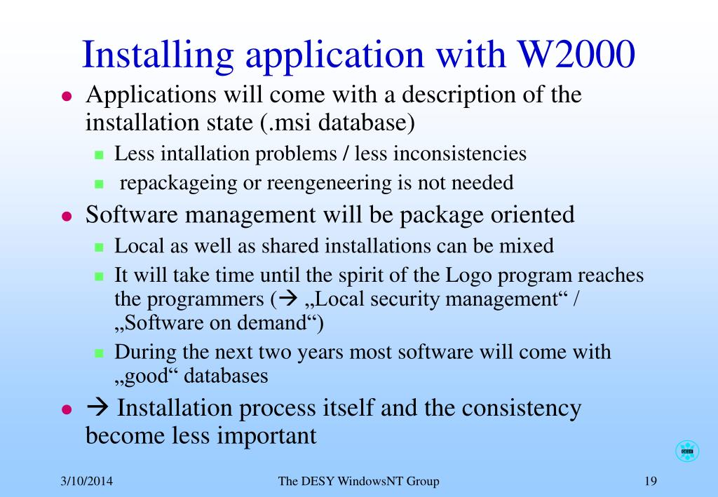 Installing application with W2000