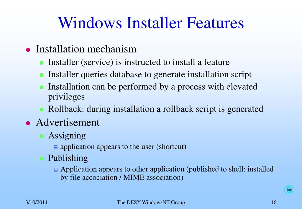 Windows Installer Features