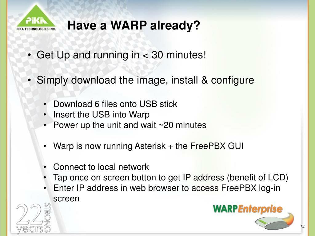 Have a WARP already?