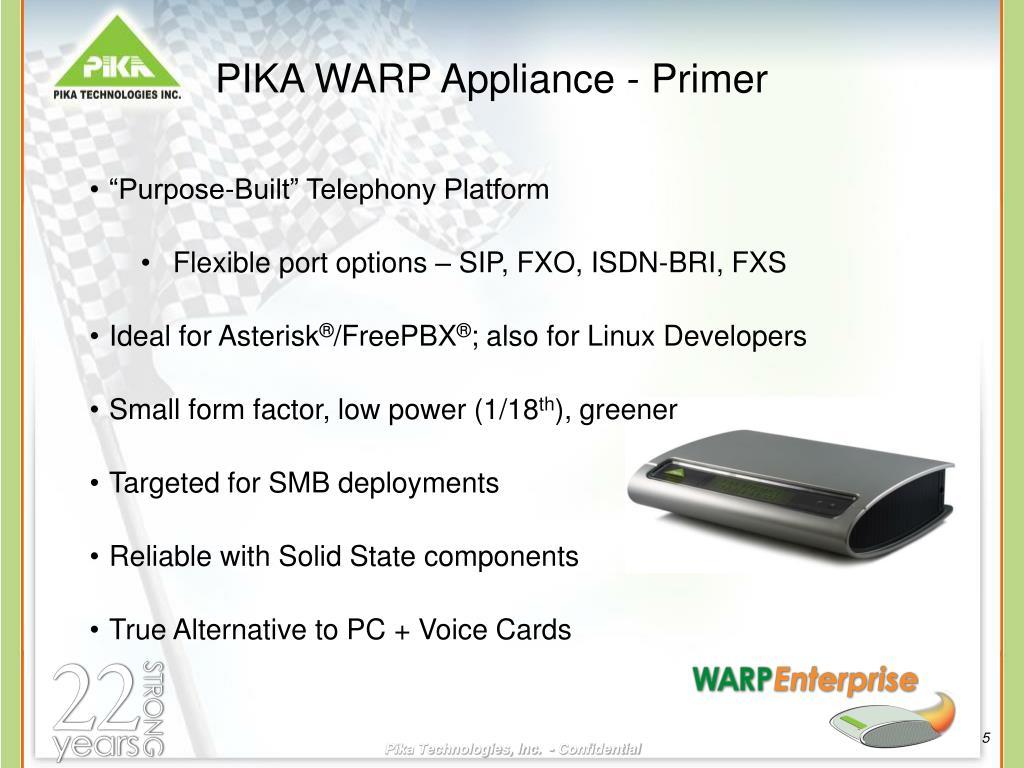 PIKA WARP Appliance - Primer