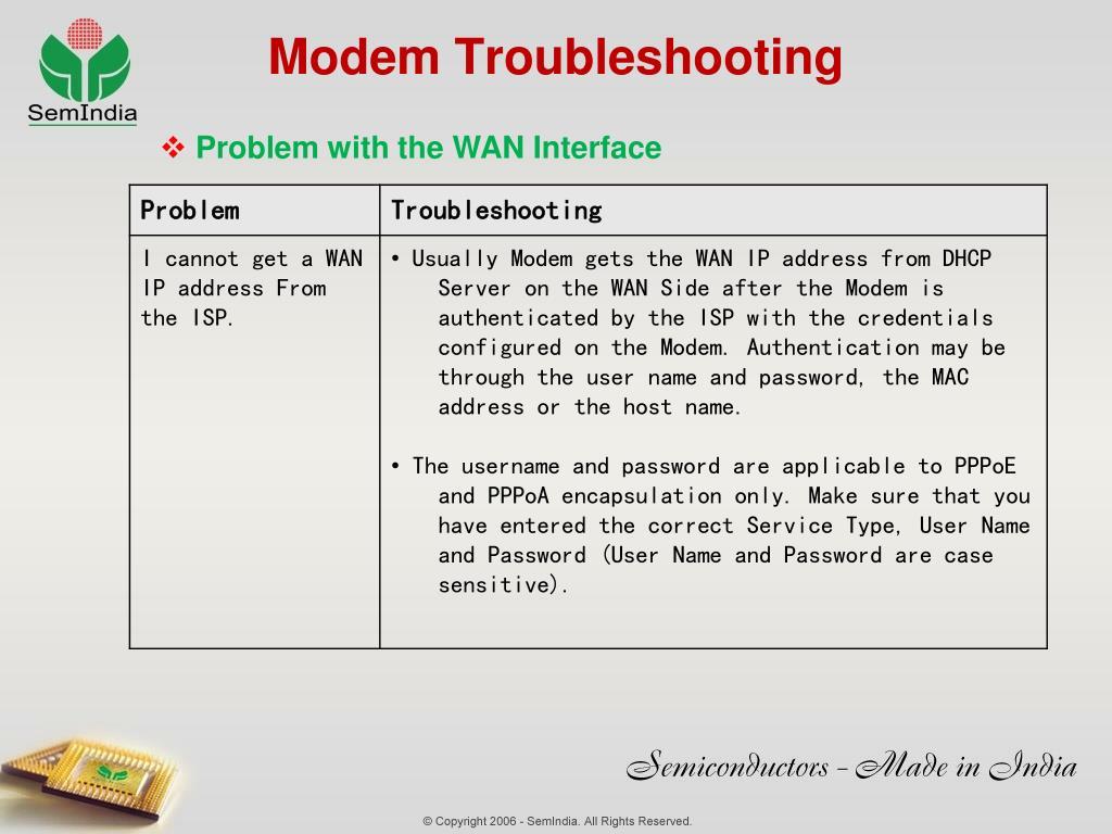 Modem Troubleshooting
