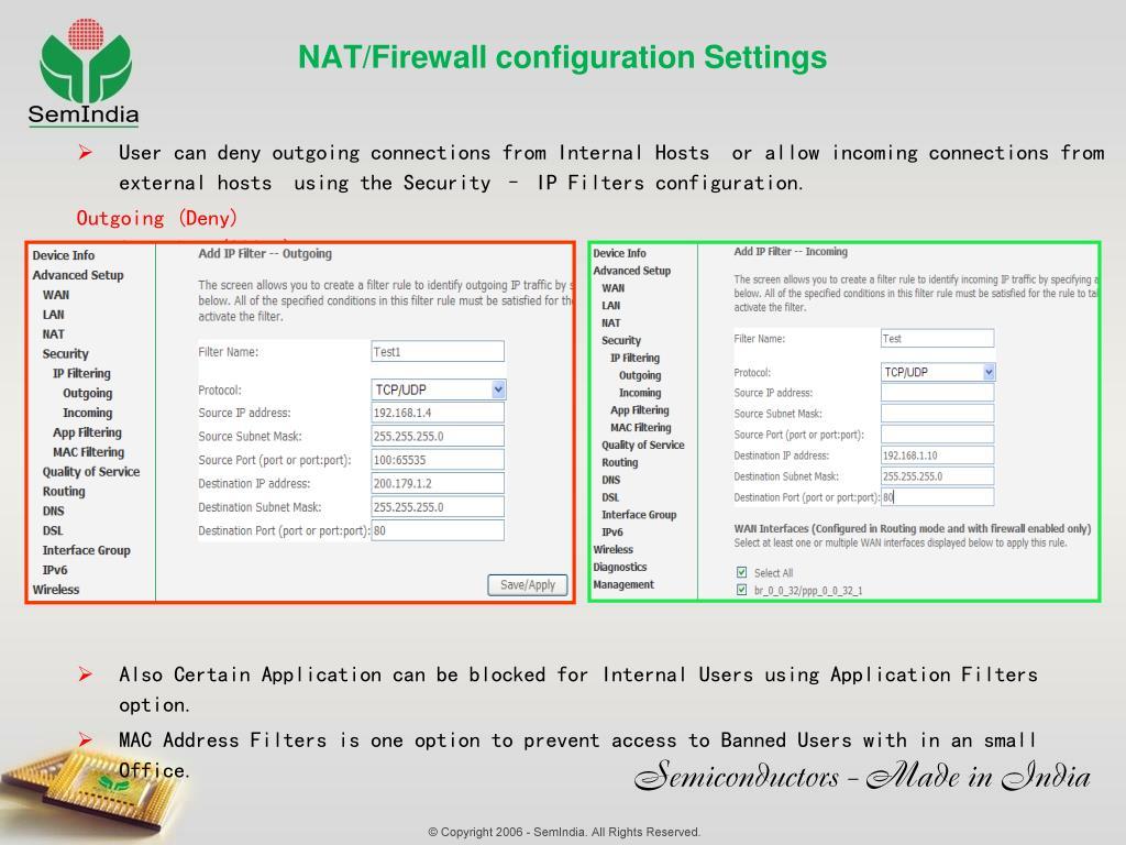 NAT/Firewall configuration Settings