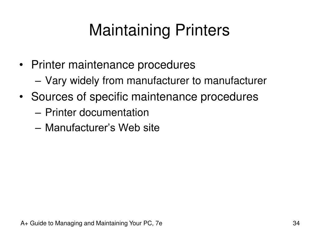 Maintaining Printers