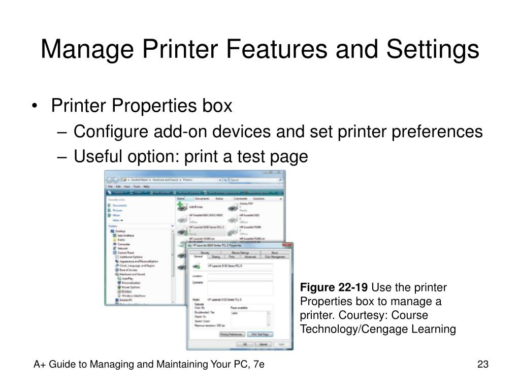 Manage Printer Features and Settings