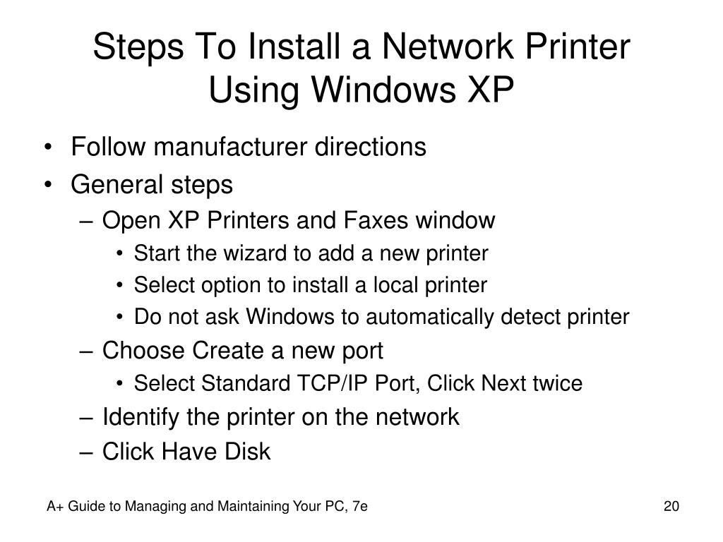 Steps To Install a Network Printer Using Windows XP