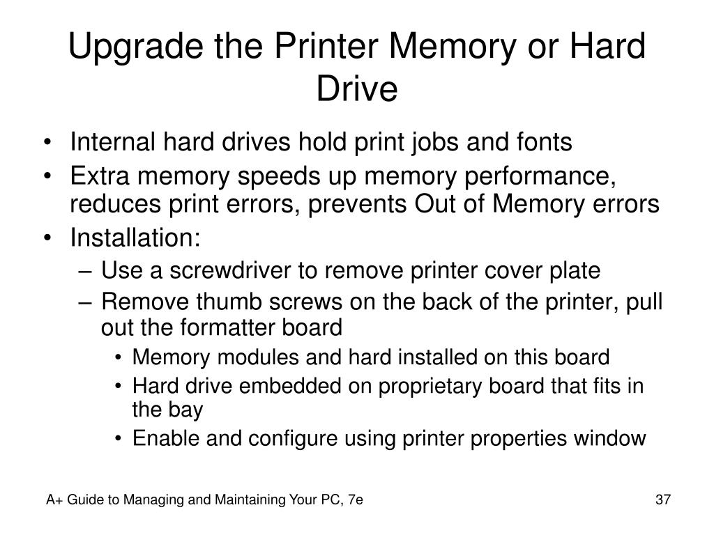 Upgrade the Printer Memory or Hard Drive