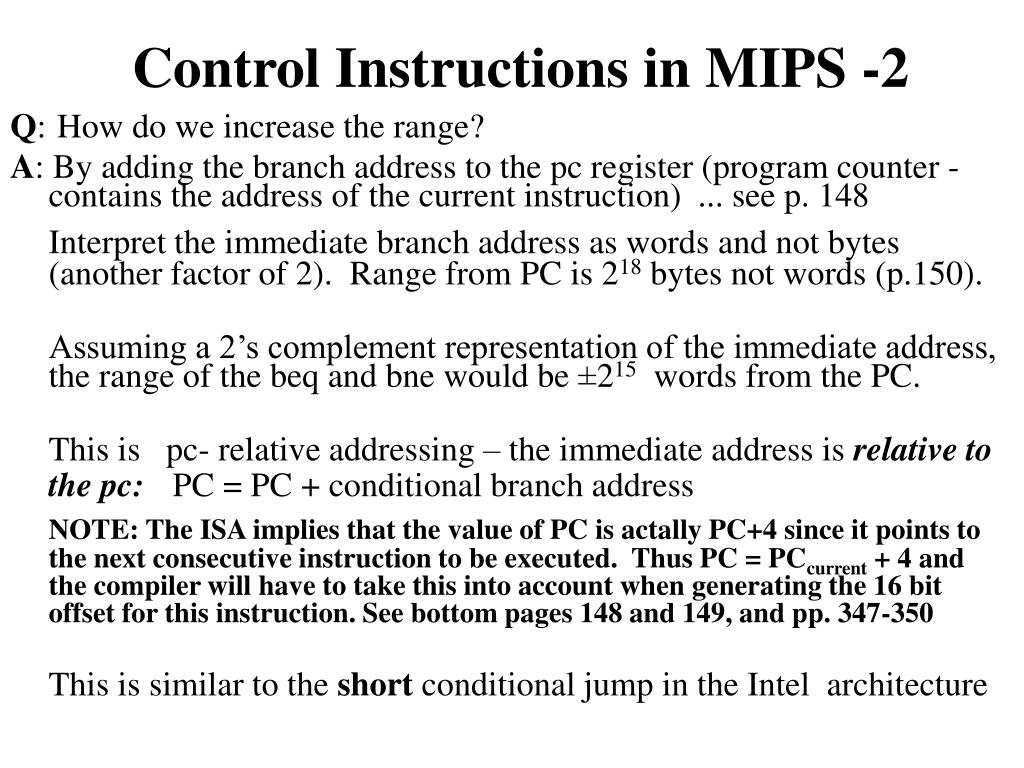 Control Instructions in MIPS -2