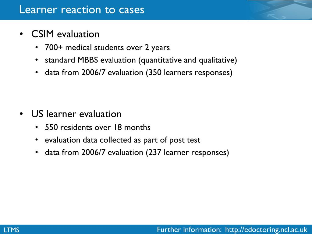 Learner reaction to cases