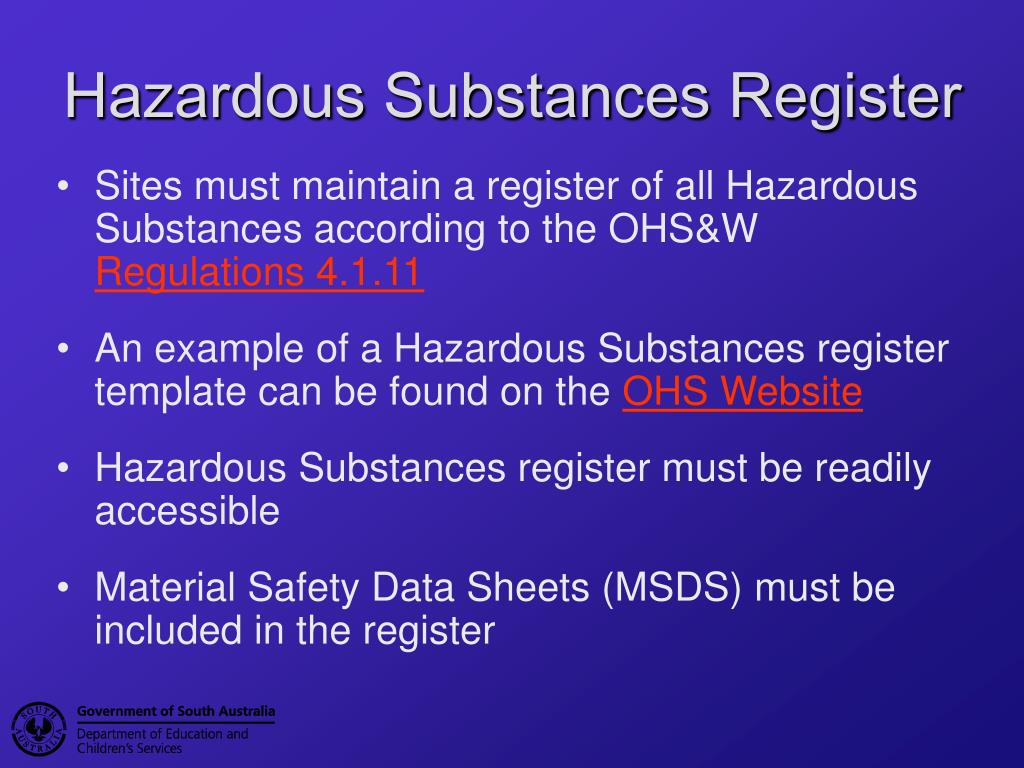 Ppt hazardous substances powerpoint presentation id 742935 for Hazardous substance register template