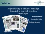 a specific way to deliver a message through the channel e g in a newspaper
