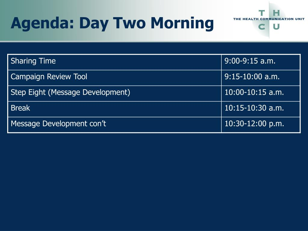 Agenda: Day Two Morning
