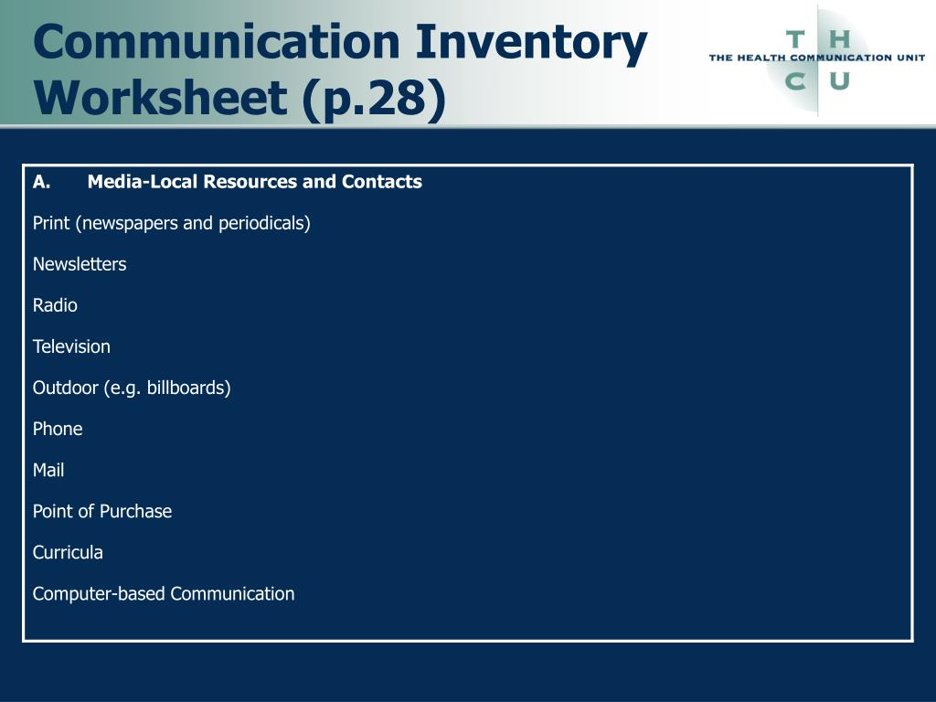Communication Inventory Worksheet (p.28)