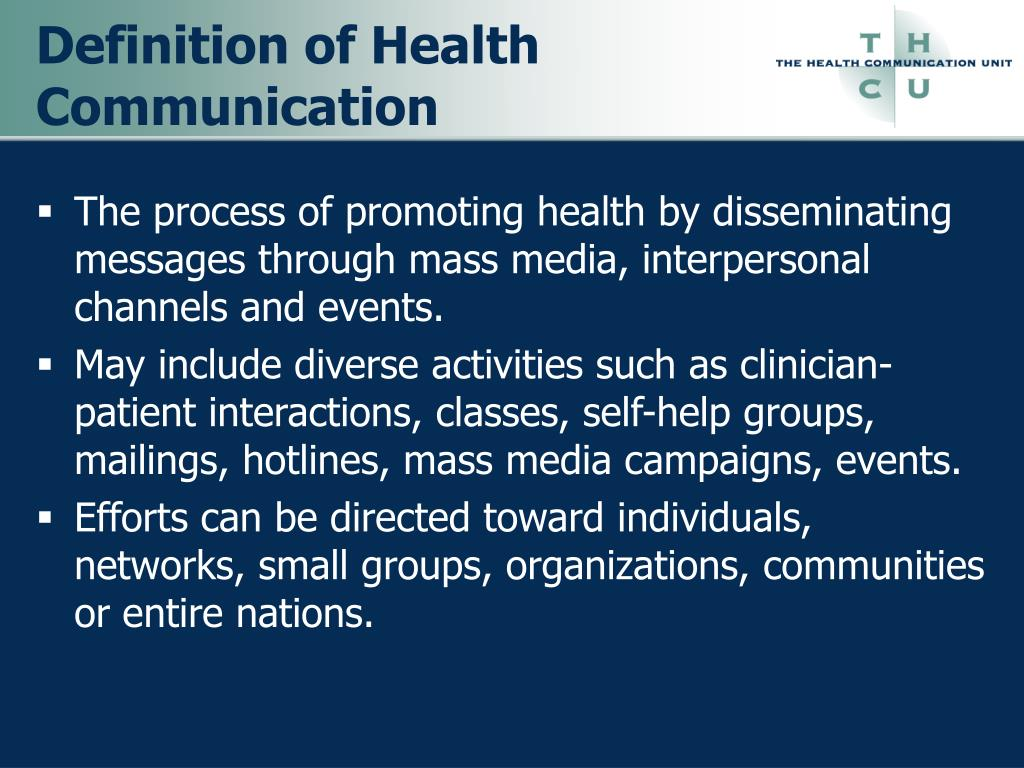 Definition of Health Communication