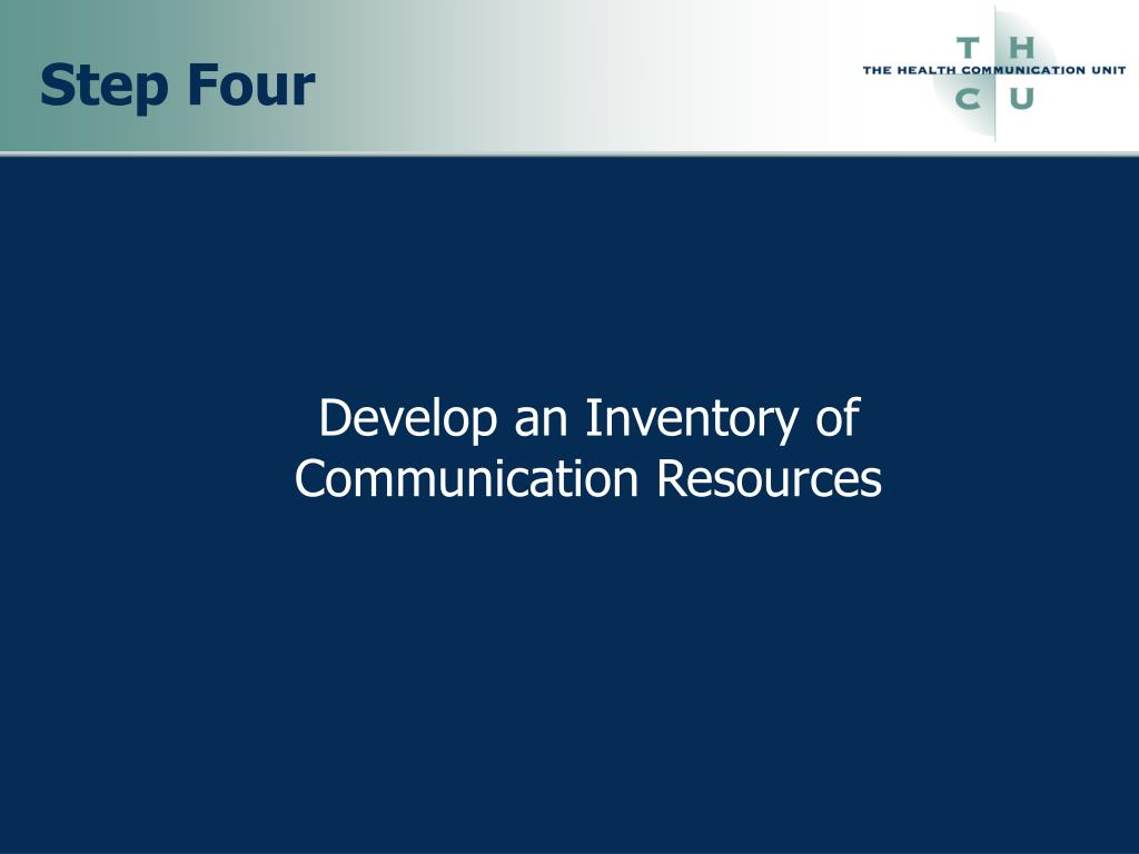 Develop an Inventory of Communication Resources