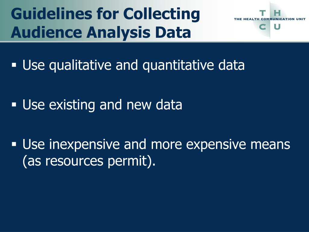 Guidelines for Collecting Audience Analysis Data