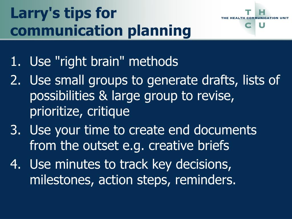 Larry's tips for communication planning