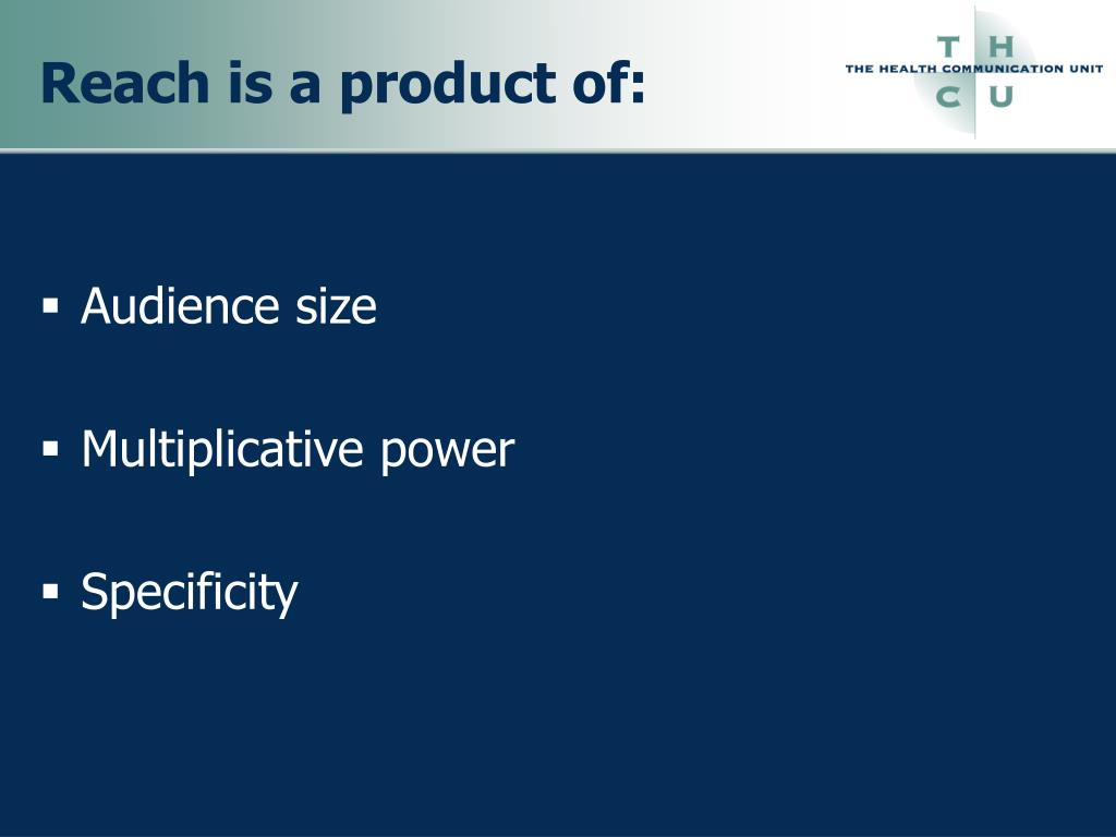 Reach is a product of: