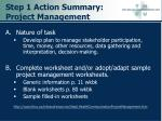step 1 action summary project management