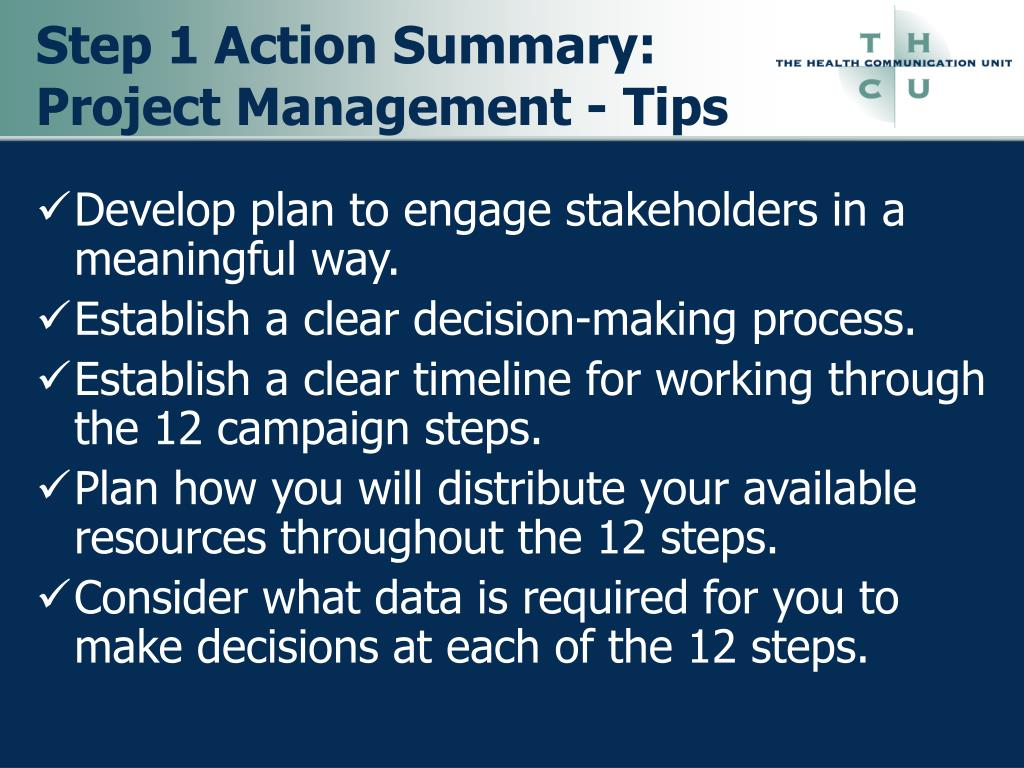 Step 1 Action Summary: Project Management - Tips