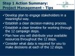 step 1 action summary project management tips