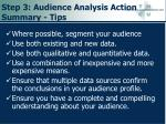 step 3 audience analysis action summary tips