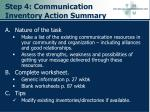step 4 communication inventory action summary