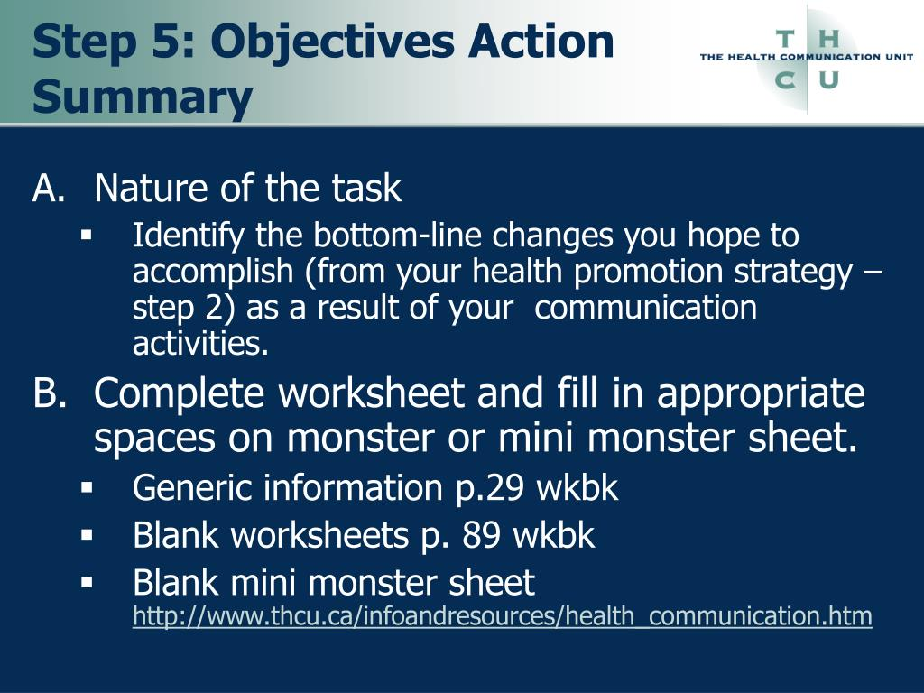 Step 5: Objectives Action Summary