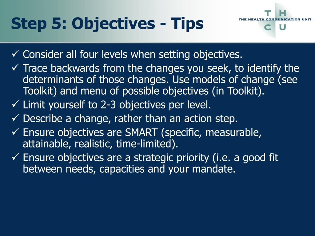 Step 5: Objectives - Tips