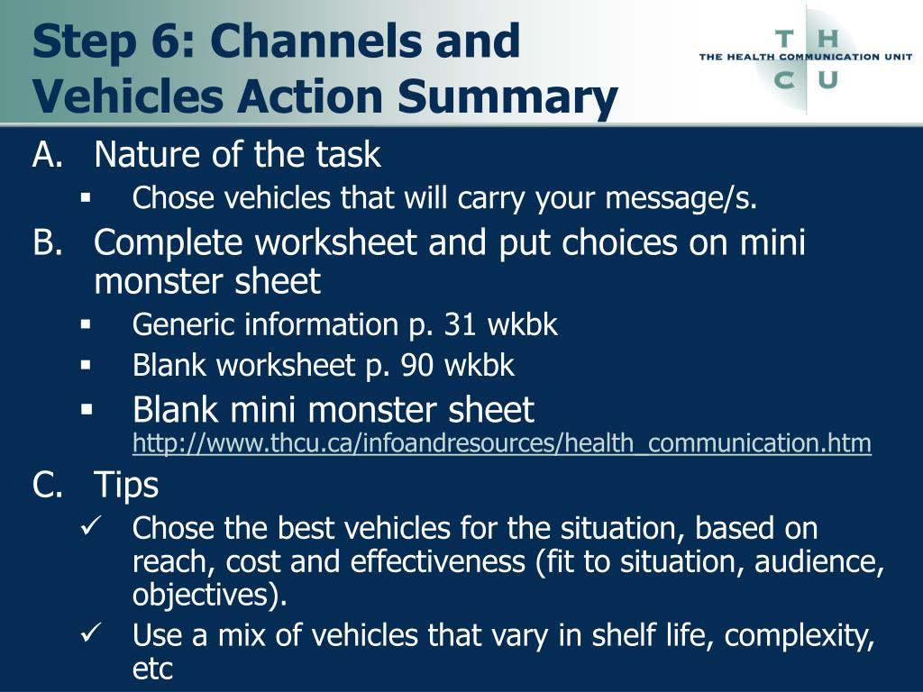 Step 6: Channels and Vehicles Action Summary