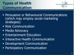types of health communication