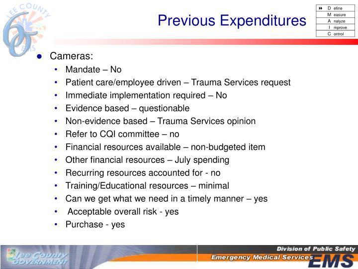 Previous Expenditures