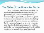 the niche of the green sea turtle