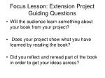 focus lesson extension project guiding questions