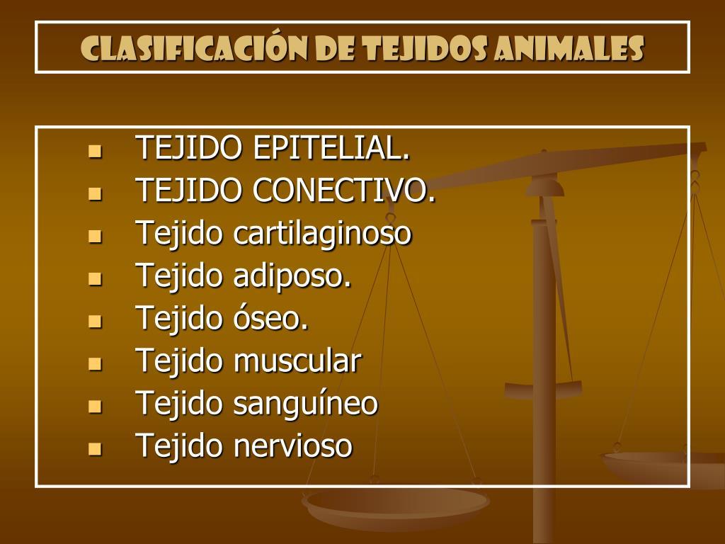 Clasificación de tejidos animales