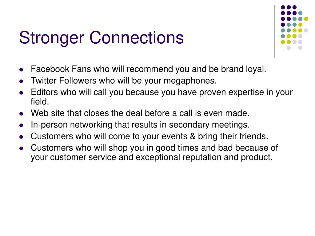 Stronger Connections