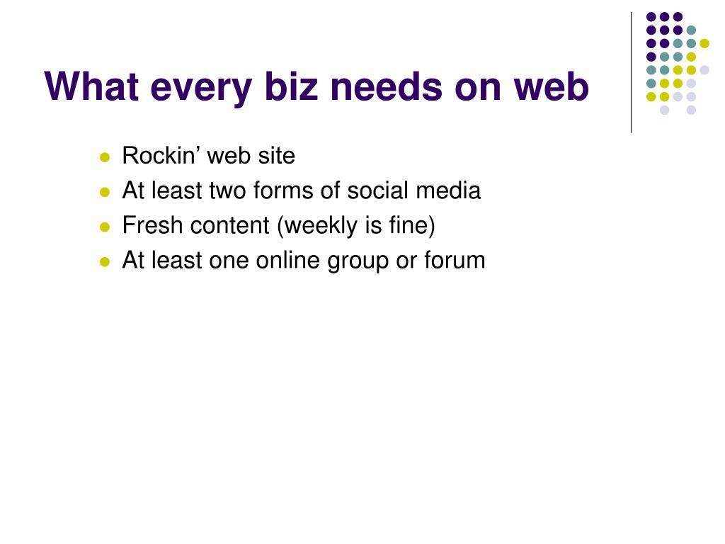 What every biz needs on web