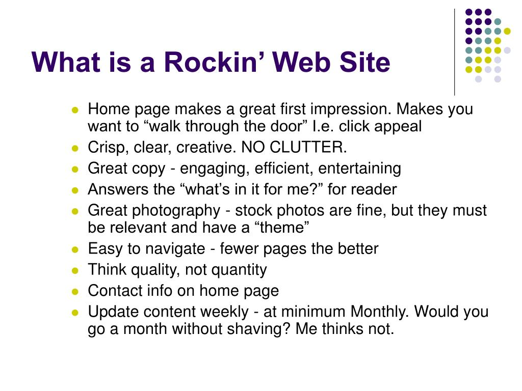 What is a Rockin' Web Site