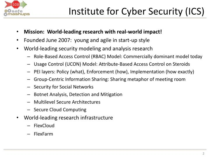 Institute for cyber security ics l.jpg