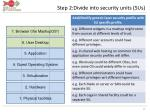 step 2 divide into security units sus